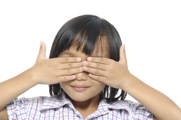 little girl covering the eyes isolated