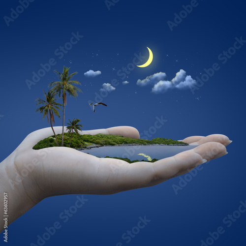 island on the hand. weather concept