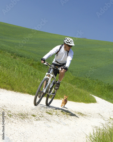 cyclist on green countryside wit his dog