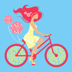 Silhouette of beautiful girl on bicycle
