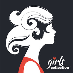 Beautiful woman silhouette. Girls collection