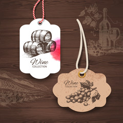 Vintage wine labels. Hand drawn illustrations. Wooden background