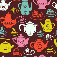 Coffee and tea seamless pattern. Set of sweet cakes and teapots