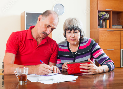 Sad senior couple calculating  budget