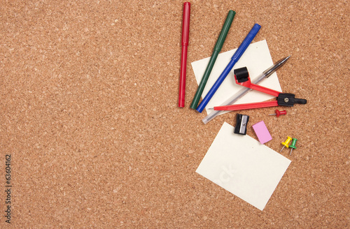 Cork board with stationary set