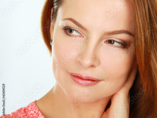 A portrait of a beautiful woman, isolated on white background.