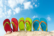 canvas print picture - Row of colorful flip flops on beach against sunny sky