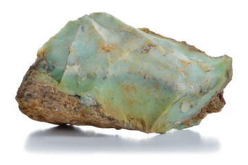 Rough green opal (chryzopal) veins mineral.