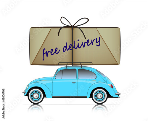 blue compact car with free delivery parcel