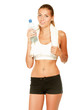 Woman in sportswear with bottle of water