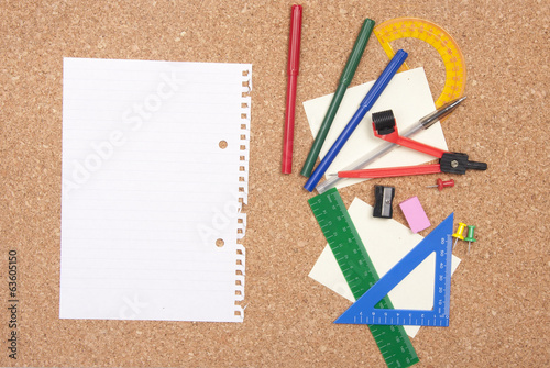 Cork board with various stationary