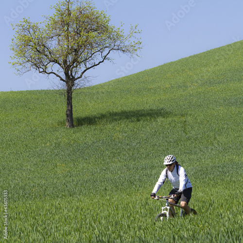 cyclist on green countryside