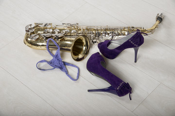 Party time a saxaphone some shoes and a pair of panties