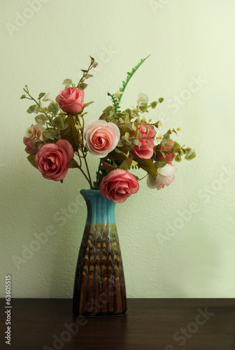 Artificial flower in vase  vintage style