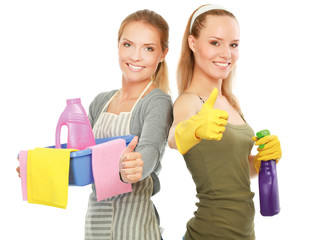 The portrait of girls showing ok - concept Cleaning