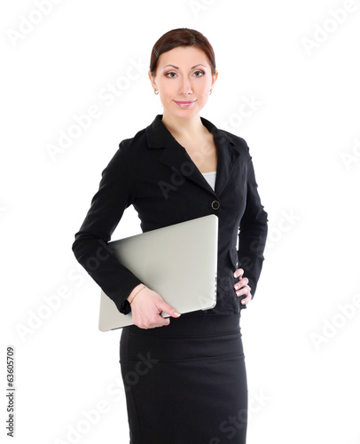 woman holding laptop, isolated on white background.