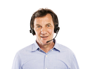 Senior man with headset