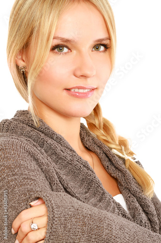 Beautiful woman portrait smiling isolated over white background.