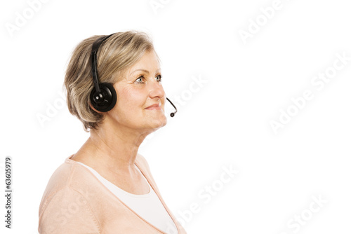 Senior woman with headphones