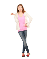 Woman standing in full length and pointing at something.