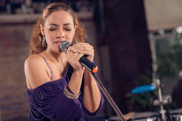 Female brunette singer