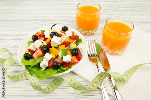Greek salad and orange juice