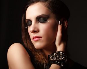 Glamor woman dark face portrait, beautiful female
