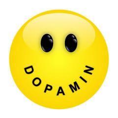 Smiley mit Schriftzug DOPAMIN als Mund – Vektor/freigestellt