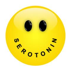 Smiley mit Schriftzug SEROTONIN als Mund – Vektor/freigestellt