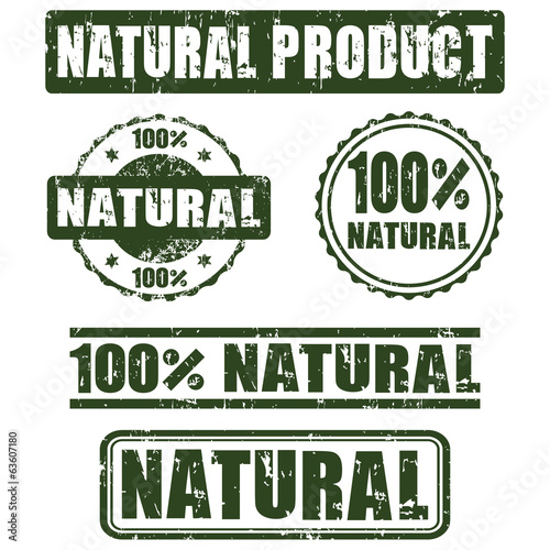 Collection of 100% natural stamps, vector