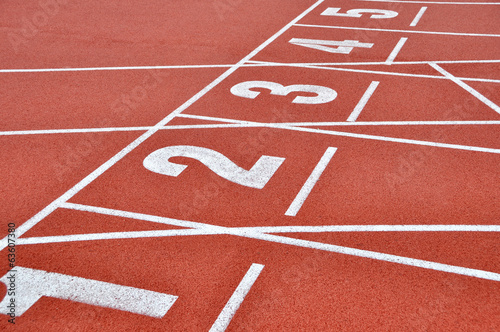 Red running track with numbers