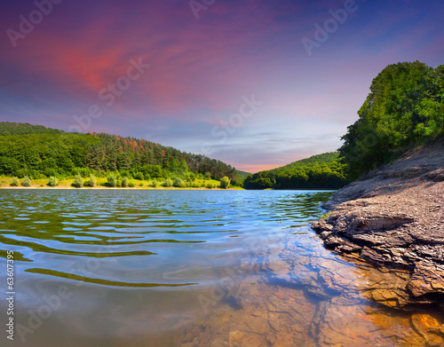 Colorful summer landscape on the river