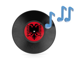 Vinyl disk with flag of albania