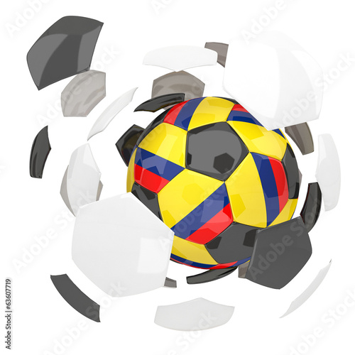 Colombia soccer ball on white background