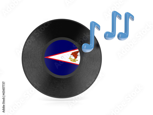 Vinyl disk with flag of american samoa