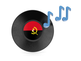 Vinyl disk with flag of angola