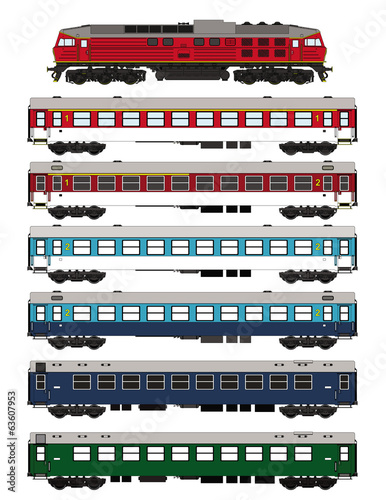 Train set passenger waggons and locomotive