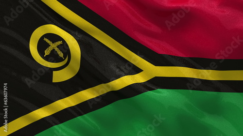 Flag of Vanuatu waving in the wind - seamless loop