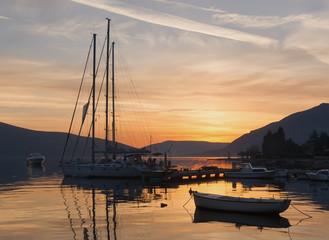 Sunset. Bay of Kotor, Montenegro