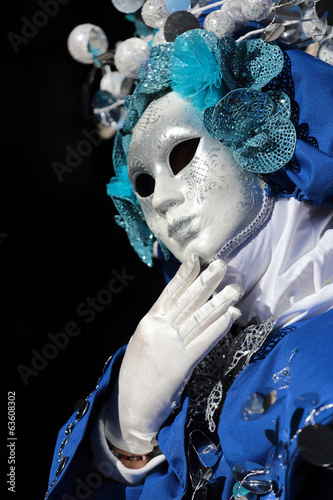 Mask on black background at the Carnival of Venice