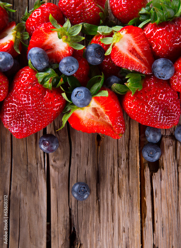 Fresh fruits on wood
