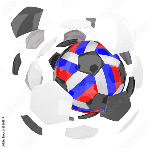 Russia soccer ball on white background