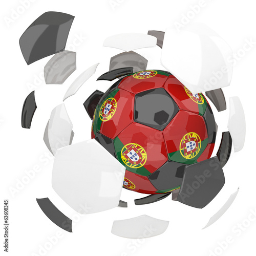 Portugal soccer ball on white background