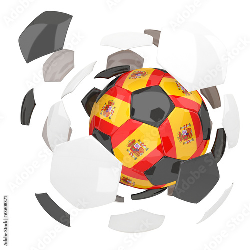 Spain soccer ball on white background