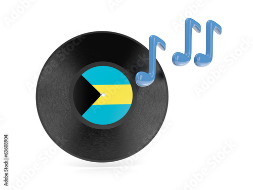 Vinyl disk with flag of bahamas