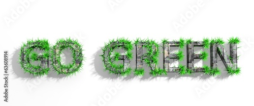 Wooden Go Green phrase with green grass growth isolated