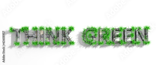 Wooden Think Green phrase with green grass growth isolated