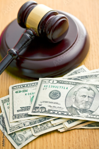 judge gavel and dollars