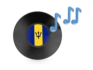 Vinyl disk with flag of barbados
