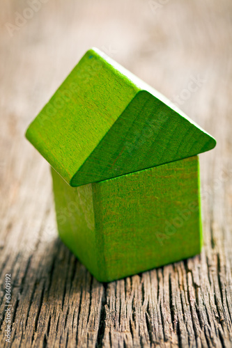 Green house made ​​from wooden cubes